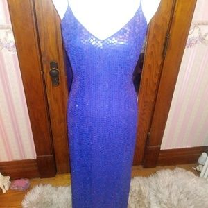 Gorgeous royal blue sequin & beaded evening gown.